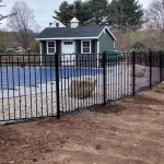 steel fence surrounding pool